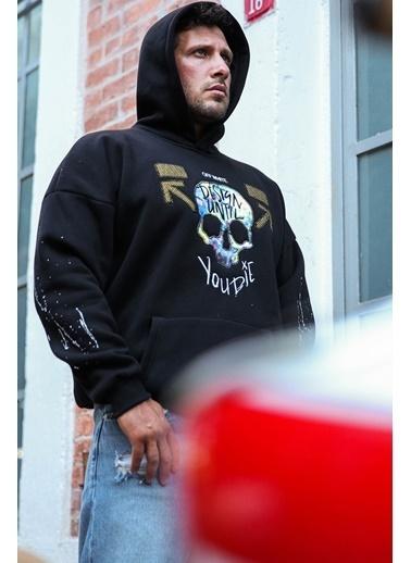 XHAN Siyah Önü Arkası Baskılı Sweatshirt 1Kxe8-44323-02 Siyah